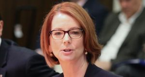 Australian prime minister Julia Gillard: angrily dismissed a radio shock jock's suggestion her  live-in partner, Tim Mathieson, is gay. Photograph:  Scott Barbour/Getty Images