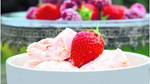 Strawberry and black pepper ice cream. Photograph: Bryan O'Brien