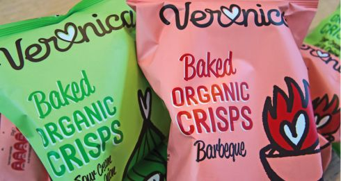 Entered by - Designworks | Title of work - Veronica's Baked Organic Crisps | Client - Veronica's Snacks | Product - Veronica's Baked Organic Crisps | Concept	Hilary Goudie | Creative Director - Rocky Grennell | Copywriter - Catherine Maher | Illustrator - Hilary Goudie | Designer - Hilary Goudie | Url - www.veronicassnacks.ie