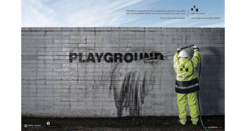Entered by - DDFH&B | Title of work - Playground | Client - Dublin City Council | Product - Anti Graffiti | Concept - Jimmy Fennessy, Darragh Julian, Mark Shanley and Paddy Treacy | Creative Director - Gavin O'Sullivan | Art Director - Mark Shanley | Copywriter - Paddy Treacy | Photographer - Kevin Griffin | Account Director - Emer Currie | Marketing Manager - Hugh Coughlan | Retoucher - Walter McLachlan, iCraft