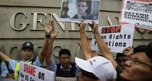 Protesters demonstrate in support of Prism whistleblower Edward Snowden outside the US consulate in Hong Kong yesterday. Bobby Yip/Reuters