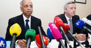 Sabaratnam Arulkatumaran (left), Chairperson, and Dr Philip Crowler, National Director for Quality and Patient Safety, at the publication of the HSE clinical review report into the death of Savita Halappanavar  on Thursday. Photograph: Eric Luke