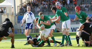Ireland's Dan Leavy makes the hard yards in the IRB Junior World Championship Group B game against New Zealand. Photograph: InphoŽ