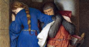 A detail from Ireland's favourite painting,  Frederic William Burton's  Hellelil and Hildebrand, the Meeting on the Turret Stairs, which made an appearance on the exam.   Photograph:  Copyright National Gallery of Ireland