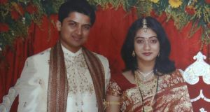 Praveen and Savita on  their wedding day.