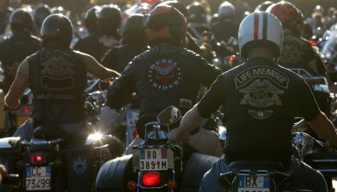 Hellraisers (If not Hell's Angels) arrive for the Vatican City blessing. Photograph: Stefano Rellandini/Reuters