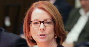Australian prime minister Julia Gillard who responded to being asked about her  partner's sexuality interview by warning   that such questioning could discourage women from entering public life. Photograph: Getty