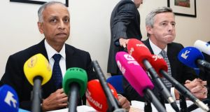 Prof Sabaratnam Arulkatumaran (left), with  Dr Philip Crowley, national director for quality and patient safety, at the publication of the Health Service Executive (HSE) clinical review report into the death of Savita Halappanavar yesterday.  Photograph: Eric Luke/The Irish Times