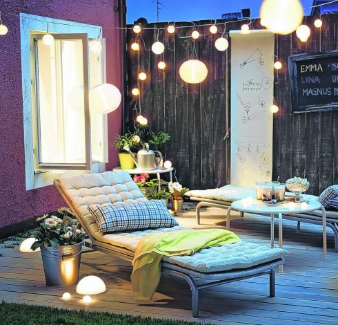 THREE OF THE BEST GARDEN LIGHTS: Solviden is a solar-powered range of exterior lighting from Ikea (ikea.ie), with stick lights for €15 for a set of five, pendant lights in white, yellow, orange and turquoise for €11 each and strings of lighting in white or multicoloured sets for €15.