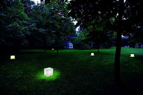 THREE OF THE BEST GARDEN LIGHTS: These cubed outdoor lights (30cm by 30cm by 32cm) look great dotted across lawns and cost €145 each at National Lighting (01-709 9070 nationallighting.ie) in Western Retail Park, Dublin 15. Also  in stock is an Adegan outdoor floor lamp (1.8m tall) that brings a sense of the indoors outside. It costs €365 and comes with a spike accessory for use in soil or clay.