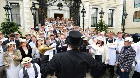 Dublin's Lord Mayor Naoise Ó Muirí gives a rousing version of Molly Malone with a horde of Edwardians outside the Mansion House.  Photograph: Alan Betson/The Irish Times