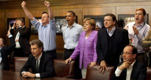 Power play: David Cameron, Barack Obama, Angela Merkel and José Manuel Barroso watch the overtime shootout of the Chelsea v Bayern Munich Champions League final at last year's G8 summit at Camp David. Photograph: Pete Souza/White House