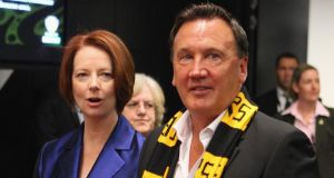 Australian prime minister Julia Gillard and her partner, Tim Mathieson. Photograph: Scott Barbour/Getty Images