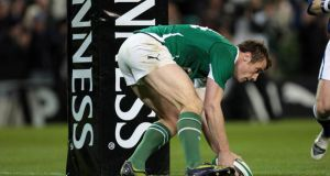 Tommy Bowe scores a try at the Aviva stadium. The IRFU, GAA and FAI are trying to protect the status quo. Photograph: INPHO/Morgan Treacy