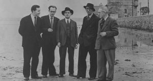 From left: John Ryan, Anthony Cronin, Brian O'Nolan, Patrick Kavanagh and Tom Joyce on Sandymount strand in Dublin on June 16th, 1954, the inaugural Bloomsday, which celebrated the 50th anniversary of the day recorded in James Joyce's novel Ulysses.