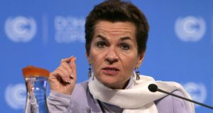 United Nations Convention on Climate Change executive secretary Christiana Figueres said she was encouraged by the progress made over the past two weeks. Photograph: Karim Jaafar/AFP/Getty Images