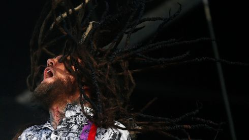 Korn's Brian Welch  performs during the Download music festival. Photograph: Darren Staples/Reuters