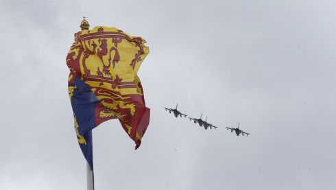 Red Arrosw fly over Buckingham Palace during the annual Trooping the Colour Ceremony in London, England. The ceremony officially marks the queen's birthday. Photograph: Chris Jackson/Getty Images