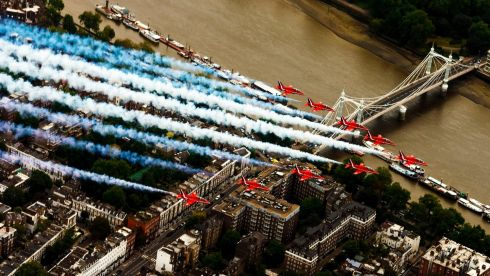 RAF Red Arrows perform a flypast over Chelsea, central London, for the Trooping the Colour. Photograph: Chris Ison/PA Wire