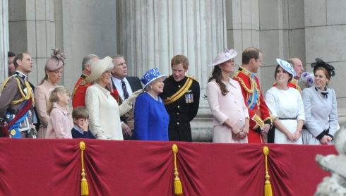 Members of the royal family surround the queen on the Buckingham Palace balcony. Photograph: Anthony Devlin/PA Wire