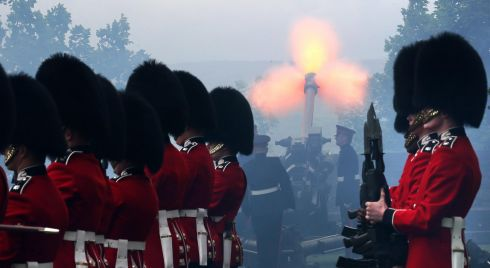 Gunners from the 105th Regimental Royal Artillery fire a 21-gun royal salute at Stirling Castle. Photograph: Andrew Milligan/PA Wire