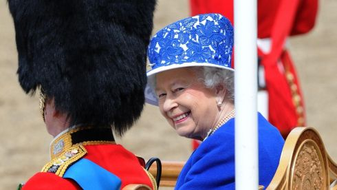The queen enjoying the Horse Guards Parade. Photograph: Anthony Devlin/PA Wire