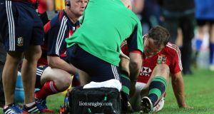 Jamie Roberts receives treatment for an injury in Sydney this morning. Photograph: Dan Sheridan/Inpho