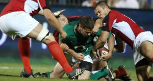 Ireland's Fergus McFadden scores one of his three tries against  Canada. Photograph: Billy Stickland/Inpho
