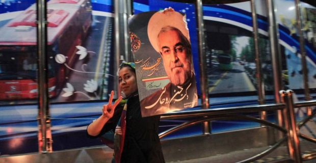 A supporter of moderate cleric Hassan Rohani celebrates his victory in Iran's presidential election in Tehran last night. Photograph: Yalda Moayeri/Reuters