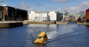 File photo of a Duckmarine tour bus in Albert Dock, Liverpool.  Photograph: Peter Byrne/PA Wire