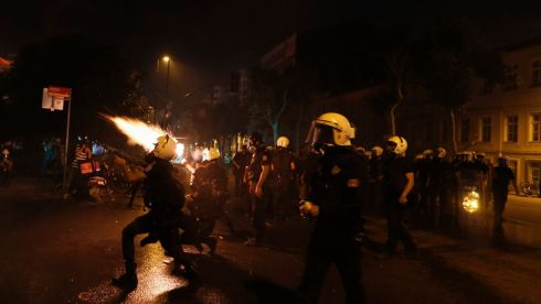 Riot police fire tear gas at Taksim Square in Istanbul. Photograph: Osman Orsal/Reuters