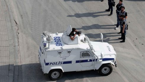 An armoured police vehicle patrols Taksim Square in Istanbul. Photograph: Osman Orsal/Reuters