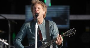 Bon Jovi on stage at  Slane Castle in Co Meath. Photograph: Arthur Carron/Collins
