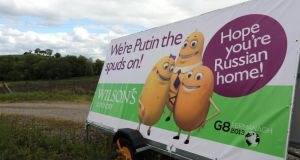 Advertising on the road to the G8 summit in Enniskillen, Co Fermanagh, ahead of the G8 summit. Photograph: Paul Faith/PA Wire