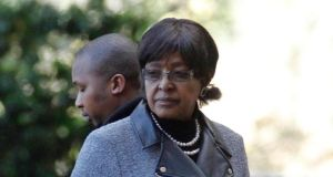 Winnie Madikizela-Mandela, former wife of Nelson Mandela, arrives to visit him at a Pretoria hospital today. Photograph: Mike Hutchings/Reuters
