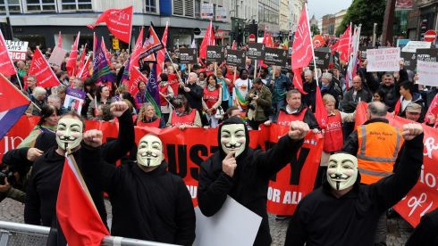Anti-G8 protesters during a rally taking place in Belfast. Photograph: Paul Faith/PA Wire