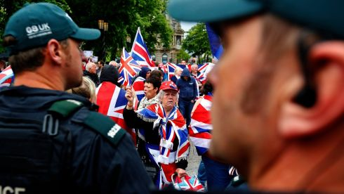 Loyalist demonstrators take part in a protest in Belfast near a separate march against the upcoming G8 summit. Photograph: Yves Herman/Reuters