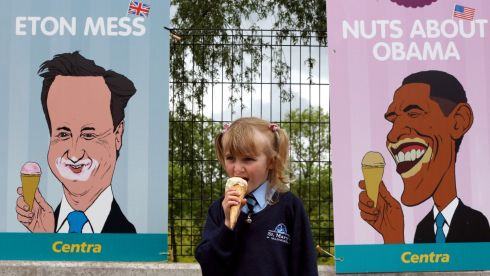 Niamh Farry (5) sampling some of the G8 icecream on sale at Lilley's garage in Enniskillen, Co Fermanagh. Photograph: Paul Faith/PA Wire