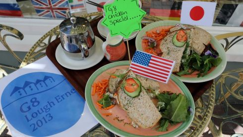 G8 sandwiches on sale at the Jolly sandwich cafe in Enniskillen, Co Fermanagh. Photograph: Paul Faith/PA Wire