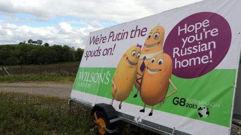 Advertising on the road to the G8 summit in Enniskillen, Co Fermanagh. Photograph: Paul Faith/PA Wire