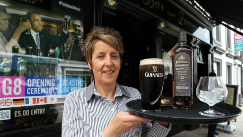 Jackie Swift from the Bush Bar, who are hosting a G8 party night in Enniskillen, Co Fermanagh, ahead of the G8 summit. Photograph: Paul Faith/PA Wire