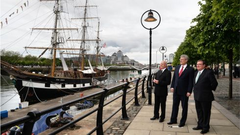 anadian prime minister, Stephen Harper (centre), his finance minister Jim Flaherty (right) and Loyola Hearn, Canadian Ambassador to Ireland (left) the Jeanie Johnston Famine ship, on Custom House Quay in  Dublin. Photograph: Dara Mac Donaill/The Irish Times