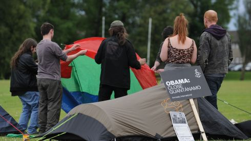 G8 protesters set up camp at Broadmeadow, Enniskillen today ahead of the G8 summit. Photograph: Joe Giddens/PA Wire