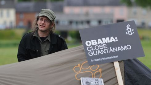 G8 protester Ziggy (42) from Suffolk at the makeshift camp at Broadmeadow, Enniskillen. Photograph: Joe Giddens/PA Wire