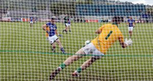 Wicklow's Seanie Furlong has his penalty saved by Meath goalkeeper Paddy O'Rourke during Saturday's clash at Aughrim. Photograph: Cathal Noonan/Inpho
