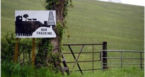 Anti-fracking sign on the side of the road near Belcoo, Co Fermanagh, and Blacklion, Co Cavan. Photograph: Bryan O'Brien