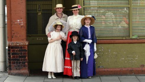 Members of the Fox Family enjoying the Bloomsday festivities in Dun Laoghaire. Pictured are Anthony, Sofia (8), Leanne, Julia (5) and Eleanor (11) Fox. Photograph: Nick Bradshaw/The Irish Times