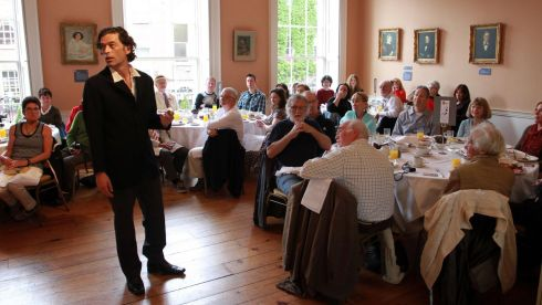 Actor John O'Donoghue re-enacts a scene from Ulysses for breakfast guests at the James Joyce Centre this morning. Photograph: Nick Bradshaw