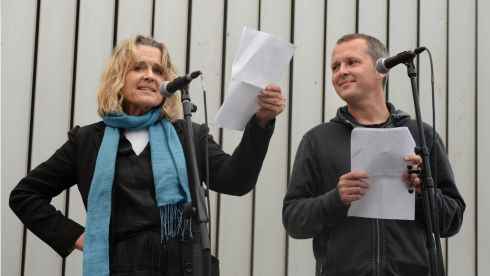 United Left Alliance TD Richard Boyd Barrett reading from Ulysses with his birth mother Sinead Cusack in Meeting House Square in Temple Bar. Photograph: Dara Mac Donaill/The Irish Times