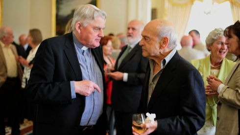 Playwright Tom Murphy (right) picutred with Mark Patrick Hederman Abbot of Glenstall Abbey at Bloomsday celebrations at Aras an Uachtarain today. Photograph: Aidan Crawley/The Irish Times